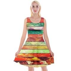 Stripes Color Oil Reversible Velvet Sleeveless Dress