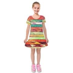 Stripes Color Oil Kids  Short Sleeve Velvet Dress