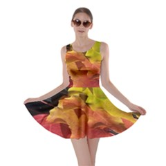 Green Yellow Red Maple Leaf Skater Dress