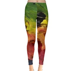 Green Yellow Red Maple Leaf Leggings
