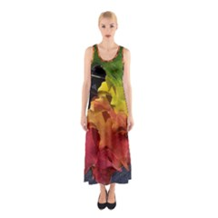 Green Yellow Red Maple Leaf Sleeveless Maxi Dress