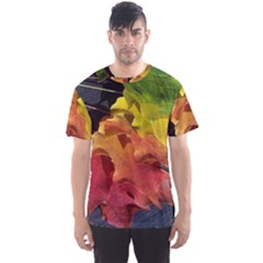 Green Yellow Red Maple Leaf Men s Sports Mesh Tee