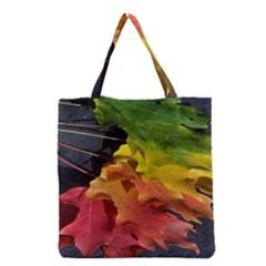 Green Yellow Red Maple Leaf Grocery Tote Bag