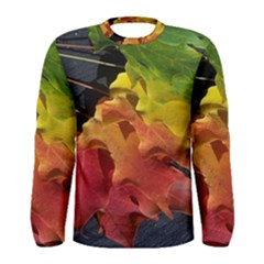 Green Yellow Red Maple Leaf Men s Long Sleeve Tee