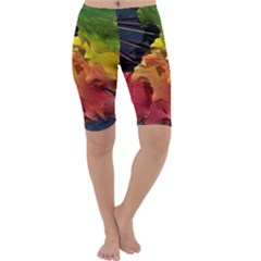 Green Yellow Red Maple Leaf Cropped Leggings