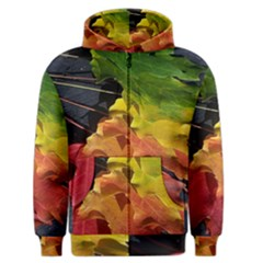 Green Yellow Red Maple Leaf Men s Zipper Hoodie