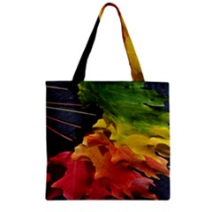 Green Yellow Red Maple Leaf Zipper Grocery Tote Bag