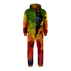 Green Yellow Red Maple Leaf Hooded Jumpsuit (Kids)