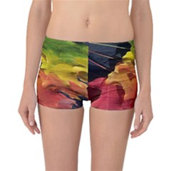 Green Yellow Red Maple Leaf Boyleg Bikini Bottoms