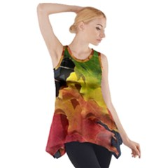 Green Yellow Red Maple Leaf Side Drop Tank Tunic