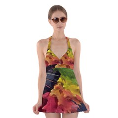 Green Yellow Red Maple Leaf Halter Swimsuit Dress