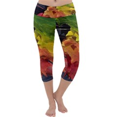 Green Yellow Red Maple Leaf Capri Yoga Leggings