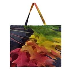 Green Yellow Red Maple Leaf Zipper Large Tote Bag