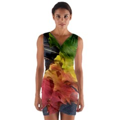 Green Yellow Red Maple Leaf Wrap Front Bodycon Dress