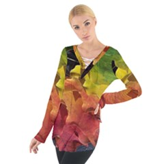 Green Yellow Red Maple Leaf Women s Tie Up Tee