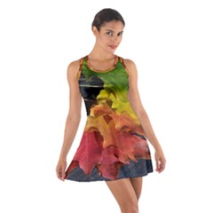 Green Yellow Red Maple Leaf Cotton Racerback Dress