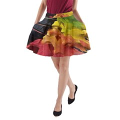 Green Yellow Red Maple Leaf A-Line Pocket Skirt