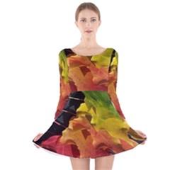 Green Yellow Red Maple Leaf Long Sleeve Velvet Skater Dress