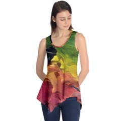 Green Yellow Red Maple Leaf Sleeveless Tunic