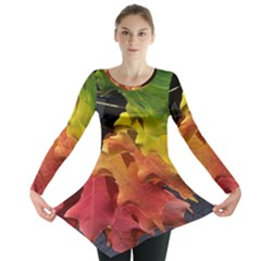 Green Yellow Red Maple Leaf Long Sleeve Tunic