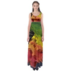 Green Yellow Red Maple Leaf Empire Waist Maxi Dress