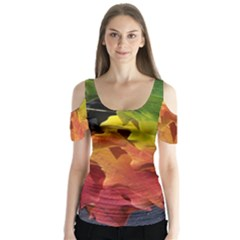 Green Yellow Red Maple Leaf Butterfly Sleeve Cutout Tee