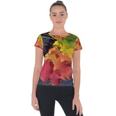 Green Yellow Red Maple Leaf Short Sleeve Sports Top
