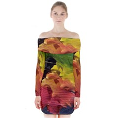 Green Yellow Red Maple Leaf Long Sleeve Off Shoulder Dress