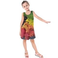 Green Yellow Red Maple Leaf Kids  Sleeveless Dress