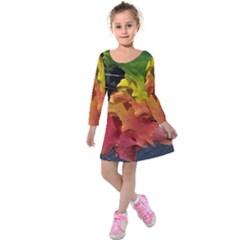 Green Yellow Red Maple Leaf Kids  Long Sleeve Velvet Dress