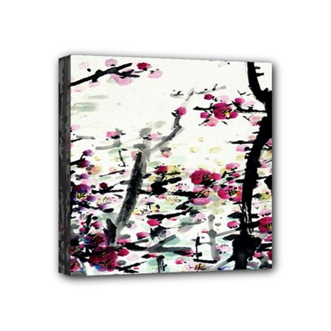Pink Flower Ink Painting Art Mini Canvas 4  X 4