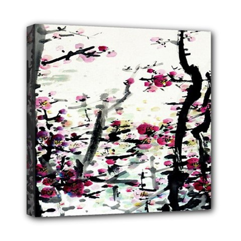 Pink Flower Ink Painting Art Mini Canvas 8  x 8