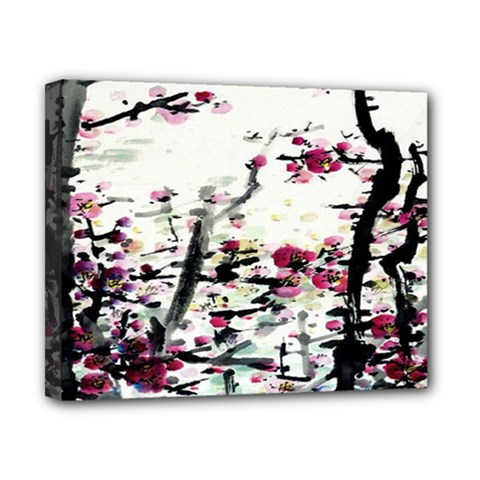 Pink Flower Ink Painting Art Canvas 10  x 8