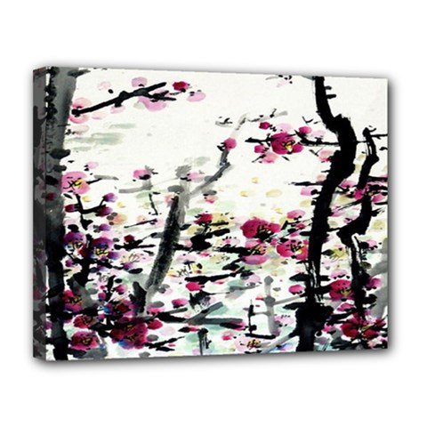 Pink Flower Ink Painting Art Canvas 14  x 11