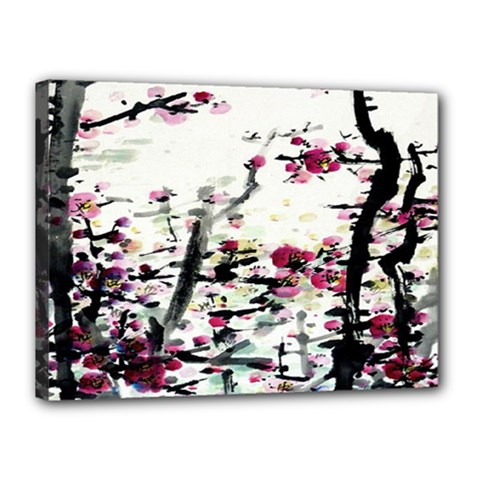 Pink Flower Ink Painting Art Canvas 16  x 12