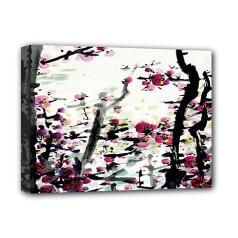 Pink Flower Ink Painting Art Deluxe Canvas 16  x 12