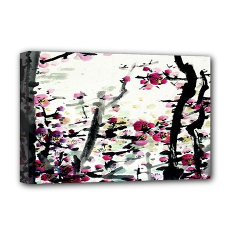 Pink Flower Ink Painting Art Deluxe Canvas 18  x 12