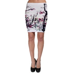 Pink Flower Ink Painting Art Bodycon Skirt