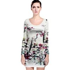 Pink Flower Ink Painting Art Long Sleeve Bodycon Dress