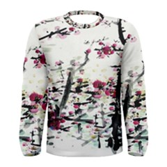 Pink Flower Ink Painting Art Men s Long Sleeve Tee