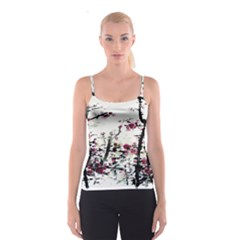 Pink Flower Ink Painting Art Spaghetti Strap Top