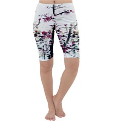 Pink Flower Ink Painting Art Cropped Leggings