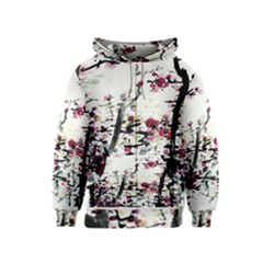 Pink Flower Ink Painting Art Kids  Zipper Hoodie