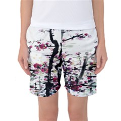 Pink Flower Ink Painting Art Women s Basketball Shorts