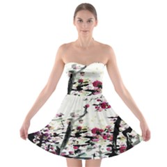 Pink Flower Ink Painting Art Strapless Bra Top Dress