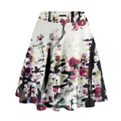 Pink Flower Ink Painting Art High Waist Skirt