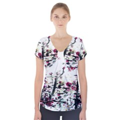 Pink Flower Ink Painting Art Short Sleeve Front Detail Top