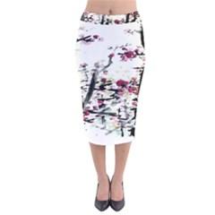 Pink Flower Ink Painting Art Velvet Midi Pencil Skirt