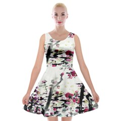 Pink Flower Ink Painting Art Velvet Skater Dress