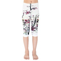 Pink Flower Ink Painting Art Kids  Capri Leggings